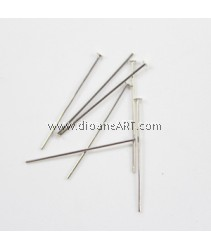 Headpins, Silver plated, 0.7x30mm, 10g/pack