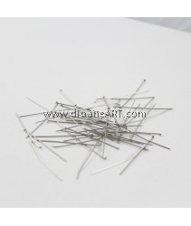 Headpins, Stainless Steel, Original Color, 0.6x40mm, 1.5x2mm, 50g/pack