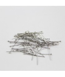 Headpins, Stainless Steel, Original Color, 0.7x32mm, ball:2mm.  20pcs/pack
