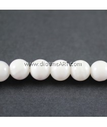 Giant Clam Beads, Fluted Giant, Round, Synthetic, Translucent, White, 8mm, Hole: Approx 1mm, Length: Approx 16Ich, pack/1 strand