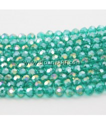 Crystal Beads, Round, Green Color, faceted, Emerald, 8mm, Hole: Approx 1mm, Length: Approx 21.2Ich. pack/ 1 strand