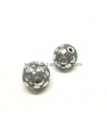 Handmade Indonesia Beads, Grey, Hole:4mm, 22.5mmx24.5mm, 2pcs/pack