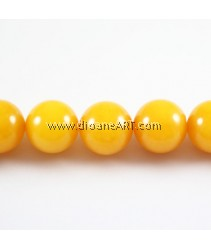 Natural Jade Beads, Round, Orange, 14.00 mm, Hole: Approx 1mm, Length: 15.5 Inch, pack/1strand