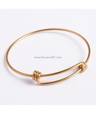 Bangle, Stainless Steel, Gold Colour, dia:abt 60-64mm, 1/pack