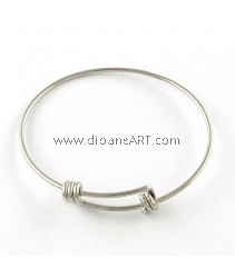 Bangle, Stainless Steel, original colour, dia:abt 55mm, 1.6mm thick, 1/pack