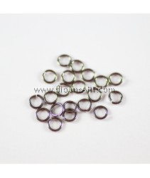 Jump Rings, Close but Unsoldered, Brass, Black Color, 5x1mm, 10 g/pack