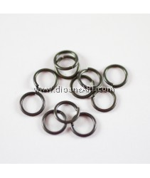 Jump Rings, Close but Unsoldered, Brass, Black Color, 8x1mm, 10g/pack