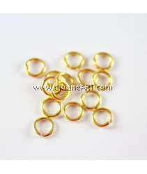 Jump Rings, Close but Unsoldered, Brass, Golden Color, 6x1mm, 10g/pack