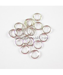 Jump Rings, Close but Unsoldered, Brass, Nickel Free, Platinium Color, 8x1mm thick, 10g/pack