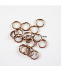Jump Rings, Close but Unsoldered, Brass, Red Copper Color, 8x1mm, 10g/pack