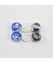 European Millefiori Crystal Beads(2), without Troll, Mixed Color, 8~9x14~15mm, Hole: Approx 6mm. pack/ 6 pcs