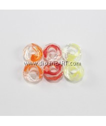 European Millefiori Crystal Beads(3), without Troll, Mixed Color, 8~9x14~15mm, Hole: 6mm. pack/ 6 pcs