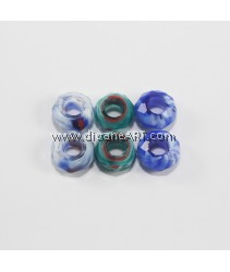 European Millefiori Crystal Beads(4), without Troll, Mixed Color, 8~9x14~15mm, Hole: 6mm. pack/ 6 pcs