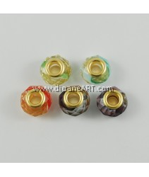 Glass European Beads, Golden Plated Brass Double Cores, Mixed Color, 14x9mm, Hole: 5mm, 6 pcs/pack