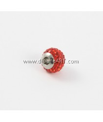 Rhinestone Clay Pave Beads, with Stainless Steel, Rondelle, with Czech Rhinestone, Red Color, 12x9mm, Hole:Approx 3-4mm, Sold by per pcs