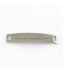 Curved Rectangle Blank Tag Links, StainlessSteel, 38.5x7x1mm, Hole:4.5x2mm, 4pcs/pack