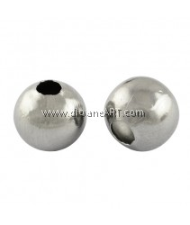 304 Stainless Steel Beads, Round, original Color, 3x3mm, Hole: 1mm, 100pcs/pack