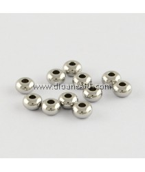 Rondelle 304 Stainless Steel Beads, Stainless Steel Color, 5x3mm, Hole: 2mm, 20pcs/pack
