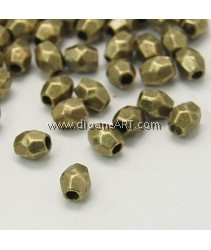 Tibetan Silver Beads, Lead and Cadmium Free, Faceted Bicone, Antique Bronze 4x3.5mm, hole: 1mm. pack/10 grams