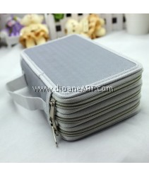 Pencil Case, 4 Layers with 72 Holders, Canvas, 20x12.5x8cm, Grey Colour, 1 /pack