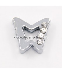 Side Beads/Charm, Alloy Rhinestone, Butterfly, nickel free, 10mm, Hole:8.2x0.8mm, 2/pack