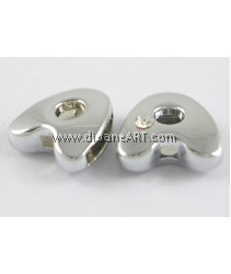 Side Beads/Charm, Alloy Rhinestone, Letter A, nickel free, 12mm, Hole:8.2x0.8mm, 2/pack