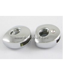 Side Beads/Charm, Alloy Rhinestone, Letter D, nickel free, 12mm, Hole:8.2x0.8mm, 2/pack