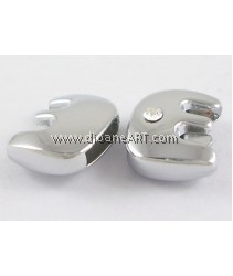 Side Beads/Charm, Alloy Rhinestone, Letter E, nickel free, 12mm, Hole:8.2x0.8mm, 2/pack