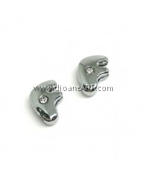 Side Beads/Charm, Alloy Rhinestone, Letter F, nickel free, 12mm, Hole:8.2x0.8mm, 2/pack