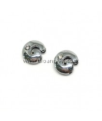 Side Beads/Charm, Alloy Rhinestone, Letter G, nickel free, 12mm, Hole:8.2x0.8mm, 2/pack