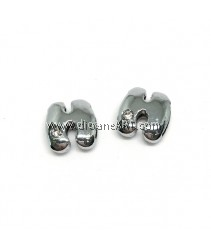 Side Beads/Charm, Alloy Rhinestone, Letter H, nickel free, 12mm, Hole:8.2x0.8mm, 2/pack