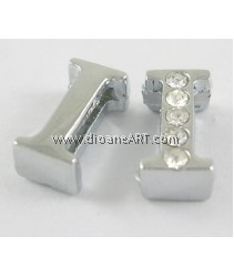 Side Beads/Charm, Alloy Rhinestone, Letter I, 10.8mm, Hole:8x1.8mm,  1/pack