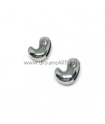 Side Beads/Charm, Alloy Rhinestone, Letter J, nickel free, 12mm, Hole:8.2x0.8mm, 2/pack