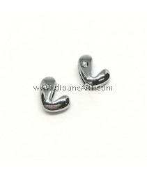 Side Beads/Charm, Alloy Rhinestone, Letter L, nickel free, 12mm, Hole:8.2x0.8mm, 2/pack