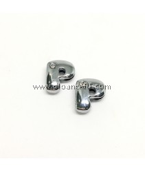 Side Beads/Charm, Alloy Rhinestone, Letter P, nickel free, 12mm, Hole:8.2x0.8mm, 2/pack