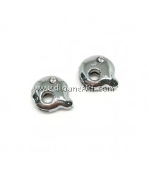 Side Beads/Charm, Alloy Rhinestone, Letter Q, nickel free, 12mm, Hole:8.2x0.8mm, 2/pack
