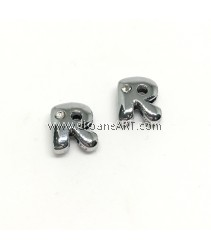 Side Beads/Charm, Alloy Rhinestone, Letter R, nickel free, 12mm, Hole:8.2x0.8mm, 2/pack