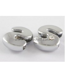 Side Beads/Charm, Alloy Rhinestone, Letter S, nickel free, 12mm, Hole:8.2x0.8mm, 2/pack