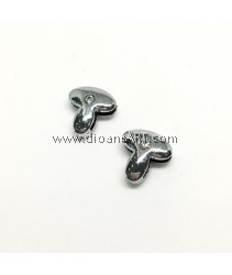 Side Beads/Charm, Alloy Rhinestone, Letter T, nickel free, 12mm, Hole:8.2x0.8mm, 2/pack
