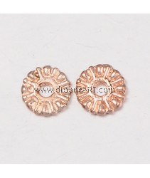 Bead Spaces, Flat Round, Rose Gold, Nicker & Lead Free unfading Alloy, 9x2mm, Hole:2mm, 2/pack