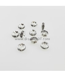 Bead Spaces, Rondelle, Bright Silver Plated with Black Diamond, 7x3mm, Hole:1mm, 10pcs