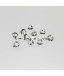 Bead Spaces, Rondelle, Bright Silver Plated with BlackDiamond , 5x2.5mm, Hole:1mm, 10pcs