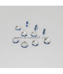 Bead Spaces, Rondelle, Bright Silver Plated with BlueDiamond , 5x2.5mm, Hole:1mm, 10pcs