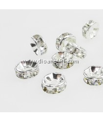 Bead Spaces, Rondelle, Bright Silver Plated with Clear Crystal , 7x3mm, Hole:1mm, 10pcs
