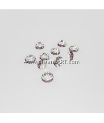 Bead Spaces, Rondelle, Bright Silver Plated with LightAmethystDiamond , 5x2.5mm, Hole:1mm, 10pcs