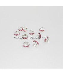 Bead Spaces, Rondelle, Bright Silver Plated with RoseDiamond , 5x2.5mm, Hole:1mm, 10pcs