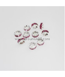 Bead Spaces, Rondelle, Bright Silver Plated with RoseDiamond, 7x3mm, Hole:1mm, 10pcs
