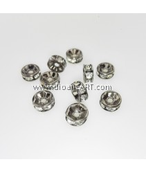 Bead Spaces, Rondelle, Plumbum Black with Clear Crystal, 7x3mm, Hole:1mm, 10pcs