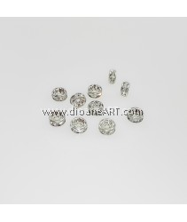 Bead Spaces, Rondelle, Silver Plated with Clear Crystal , 5x2.5mm, Hole:1mm, 10pcs