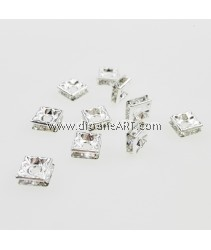 Bead Spaces, Rondelle, Square, Bright Silver Plated with Clear Crystal , 6x2.7mm, Hole:1mm, 10pcs